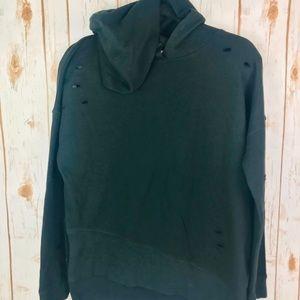 Abound Distressed Hoddie Black Sweater